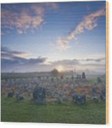 Sunrise Over Beaghmore Stone Circles Wood Print