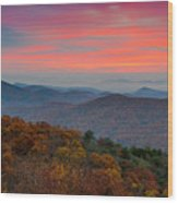 Sunrise Over Blue Ridge Parkway. Wood Print