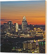 Sunrise Over Cincinnati Wood Print