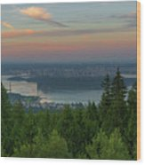 Sunrise Over City Of Vancouver Bc Canada Wood Print