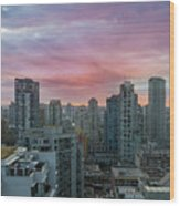 Sunrise Over Downtown Vancouver Bc Wood Print