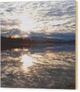 Sunrise Over Flooded Field In Bow Wood Print