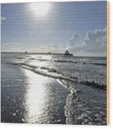 Sunrise Over Folly Beach Pier Wood Print