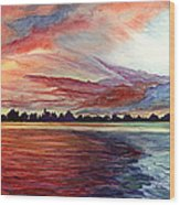 Sunrise Over Indian Lake Wood Print