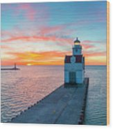 Sunrise Over Lake Michigan Scenic Harbor, Lighthouse With Seagulls. Wood Print