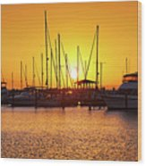Sunrise Over Long Beach Harbor - Mississippi - Boats Wood Print