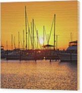 Sunrise Over Long Beach Harbor - Mississippi - Boats Wood Print