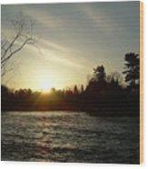 Sunrise Over Mississippi River Wood Print