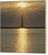 Sunrise Over Morris Island Lighthouse Wood Print