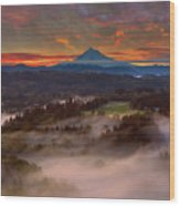 Sunrise Over Mount Hood And Sandy River Valley Wood Print