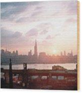 Sunrise Over Nyc Wood Print