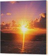 Sunrise Over Ocean, Sandy Beach Park Wood Print