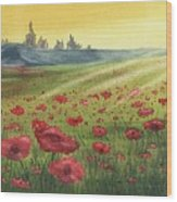 Sunrise Over Poppies Wood Print