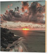 Sunrise Over The Beach Wood Print