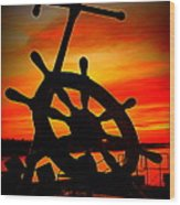 Sunrise Over The Captain's Wheel 2 Wood Print
