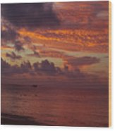 Sunrise Over The Caribean Wood Print