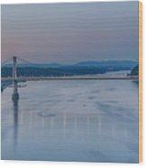 Sunrise Over The Hudson Wood Print
