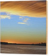 Sunrise Over The Mississippi Wood Print