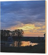 Sunrise Over The Pond Wood Print