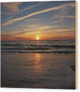 Sunrise Over The Waves Wood Print