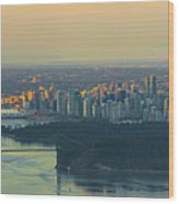 Sunrise Over Vancouver Bc And Stanley Park Panorama Wood Print