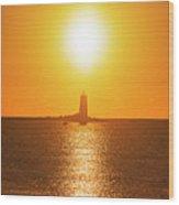 Sunrise Over Whaleback Light Portsmouth Nh New Hampshire Wood Print