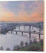 Sunrise Over Willamette River By Portland Wood Print