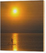 Sunrise Paddler Wood Print