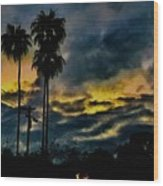Sunrise Palms Wood Print