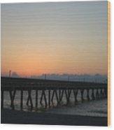 Sunrise Pier Wood Print