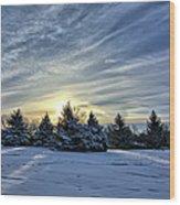 Sunrise Pines Wood Print