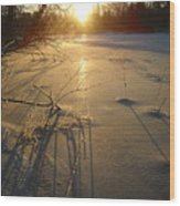 Sunrise Reflecting Off Mississippi River Ice Wood Print