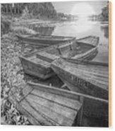 Sunrise Rowboats  In Black And White Wood Print