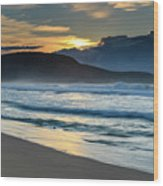 Sunrise Seascape With Headland And Clouds Wood Print