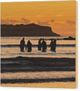 Sunrise Seascape With People Silhouettes Wood Print