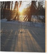 Sunrise Shadows On Ice Wood Print