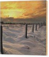 Sunrise Snow Fields Wood Print