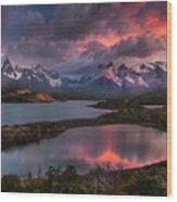 Sunrise Spectacular At Torres Del Paine. Wood Print