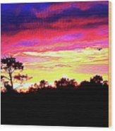 Sunrise Sunset Delight Or Warning Wood Print