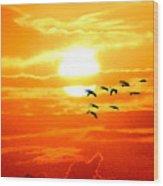 Sunrise / Sunset / Sandhill Cranes Wood Print