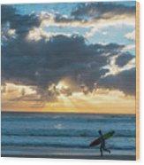 Sunrise Surfer Running Delray Beach Florida Wood Print