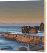 Sunrise, The Sea And Tessellated Rock Platform Wood Print