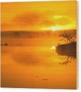 Sunrise Through Lake Mist Wood Print