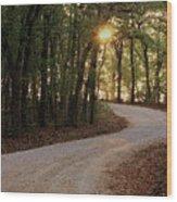 Sunrise Through The Woods Wood Print