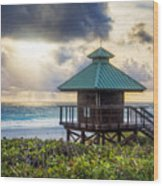 Sunrise Tower At The Beach Wood Print