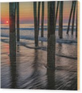 Sunrise Under The Pier Wood Print