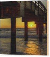 Sunrise Under The Pier  Wood Print