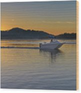 Sunrise Waterscape And Boat On The Bay Wood Print
