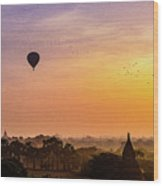 Sunrise With Balloons Wood Print