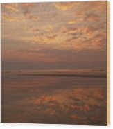 Sunrise With Reflective Symmetry At Hunting Island Wood Print